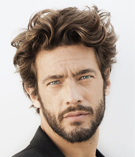 Mens Wavy Hairtyle, Hairtyles Brown Medium Curly