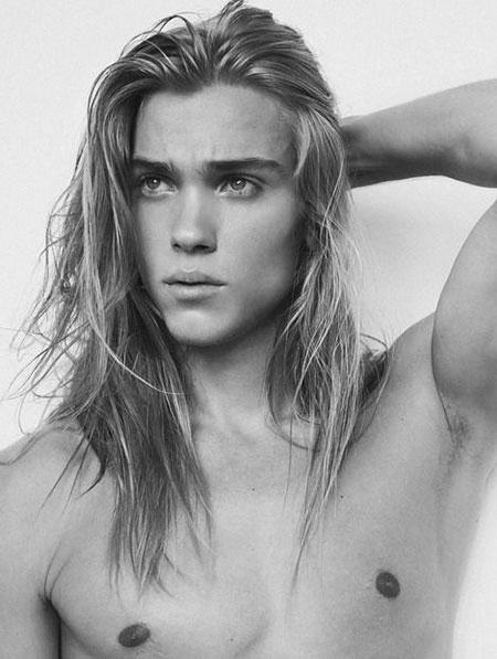 Long Blonde Hair for Men, Long Cara Model Blonde