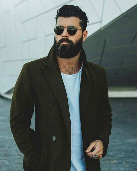 Best Medium Hair for Men, Beard Medium Fashion Coat