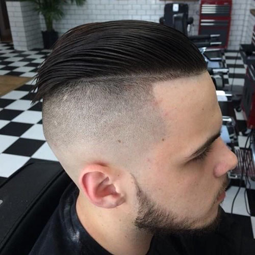 Slick Back Haircut With Fade